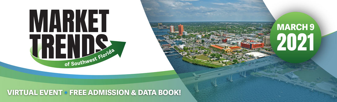 Market Trends logo on left, aerial view of Fort Myers in the middle, March 9 2021 on right